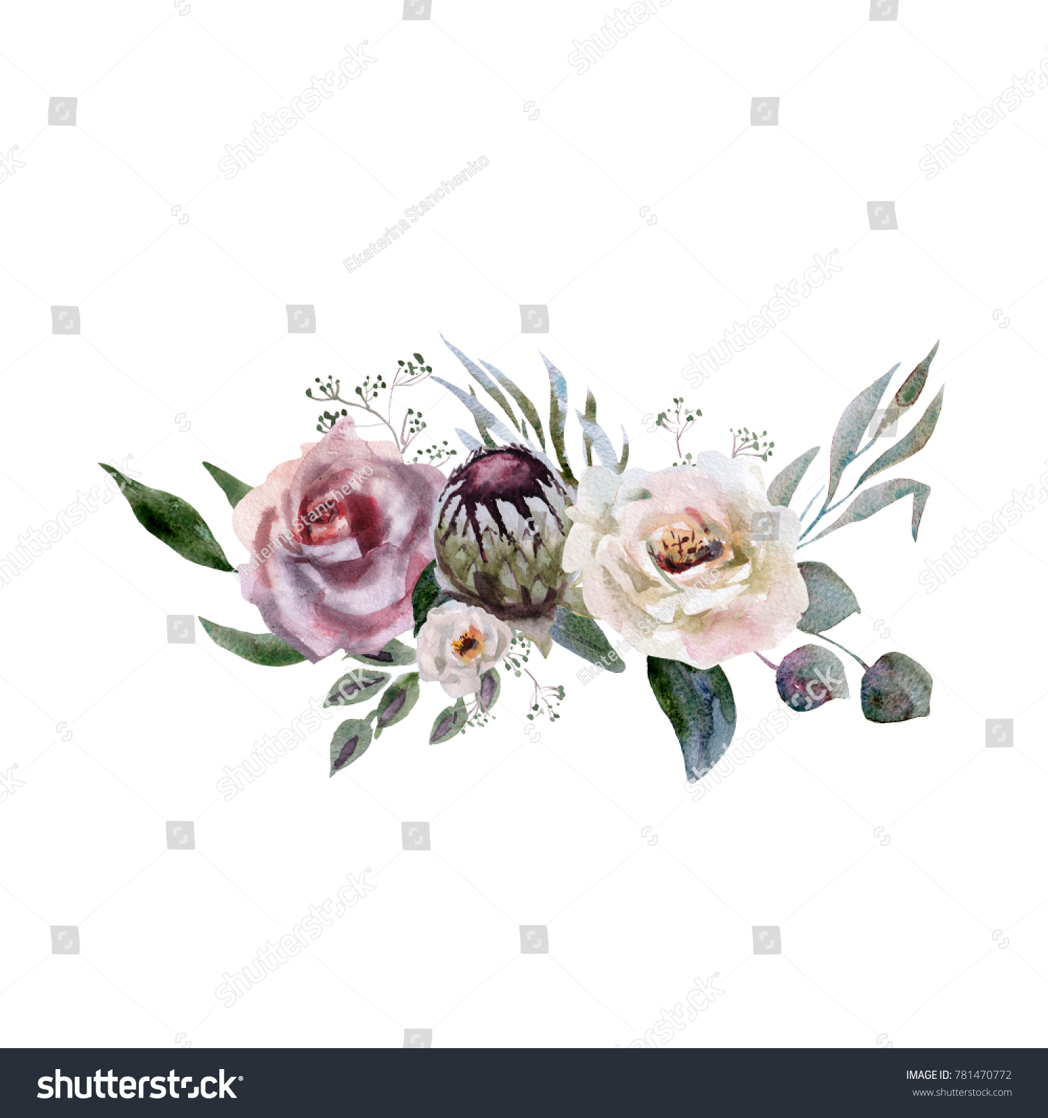 Wedding Bridal Bouquet Green Purple Flowers Stock Illustration ...