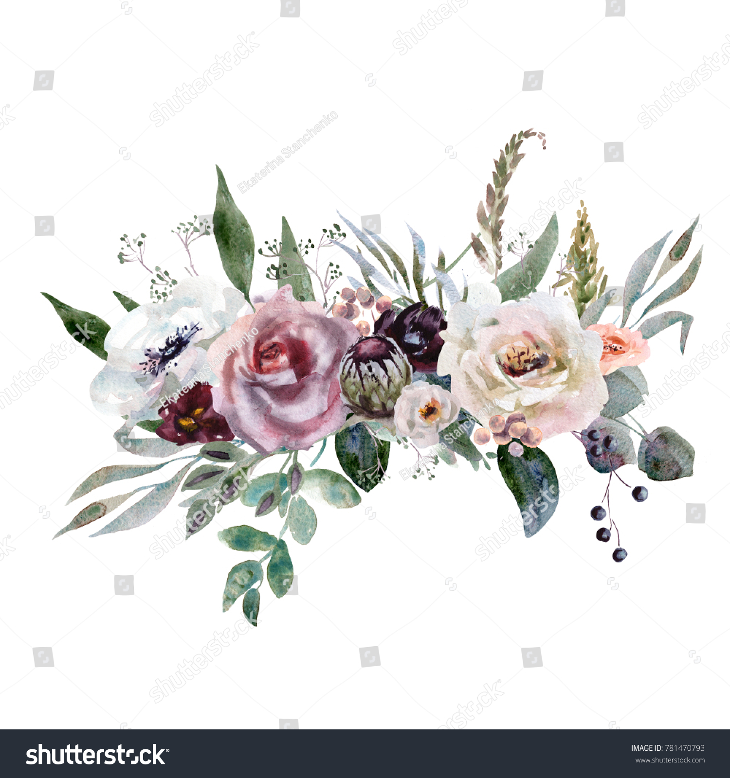 Wedding Bridal Bouquet Green Purple Flowers Stock Illustration
