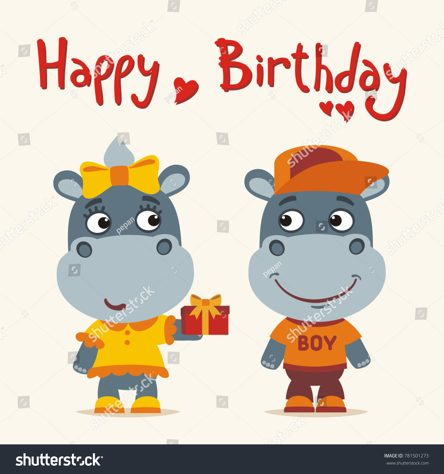 Happy birthday greeting card funny hippo stock vector 781501273 happy birthday greeting card funny hippo girl gives gift to boy m4hsunfo