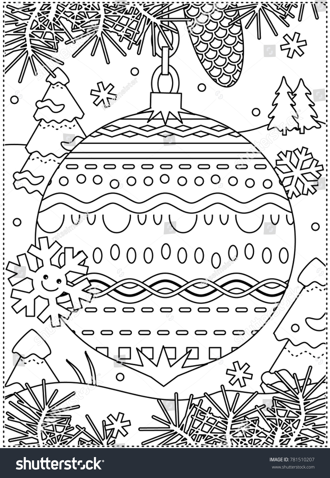 Winter Holidays Coloring Page Kids Grownups Stock Vector Royalty