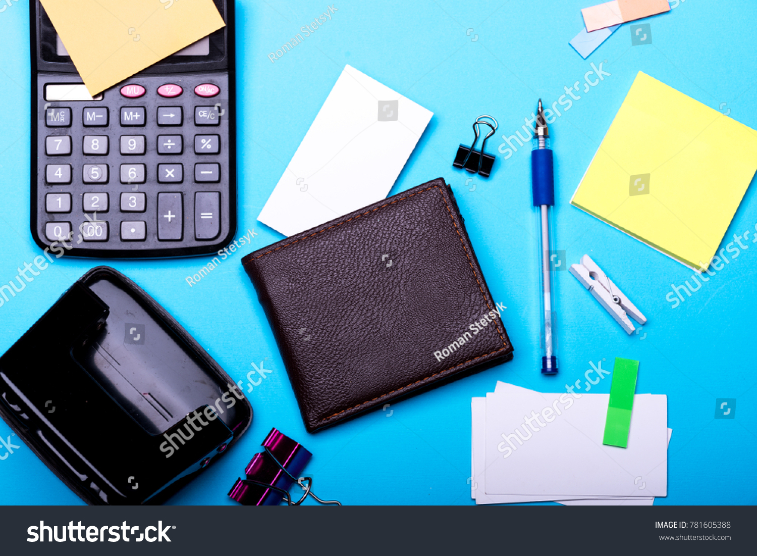 Business Card Binders Near Sticky Notes Stock Photo & Image (Royalty ...