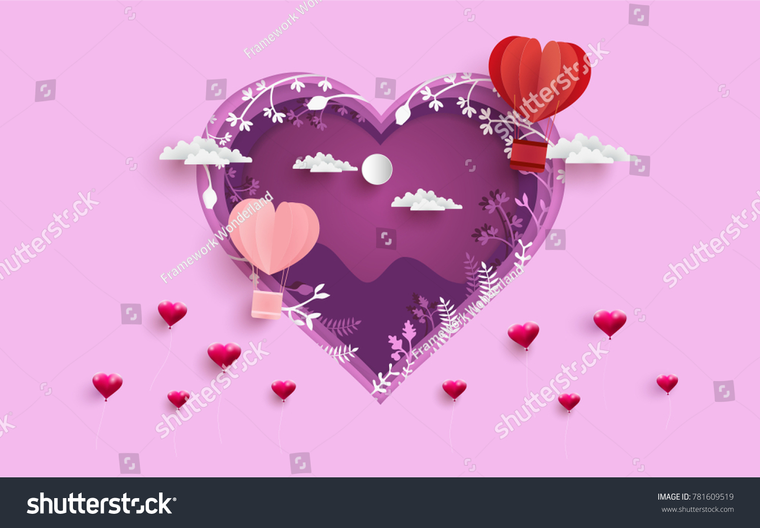 Illustration symbol love design paper art stock vector 781609519 illustration symbol of love with the design of paper art and craft hot air balloons biocorpaavc Images