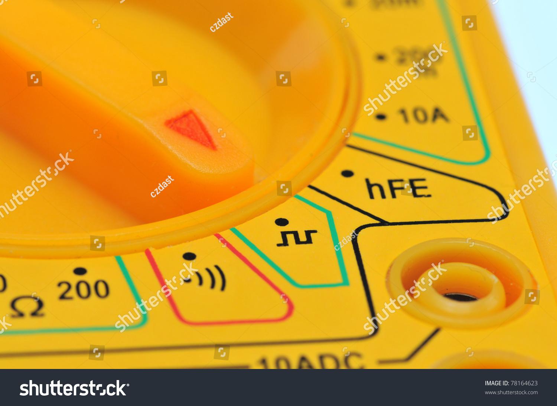 Multimeter Dial Symbols : Dial knob on multimeter pointing symbol stock photo