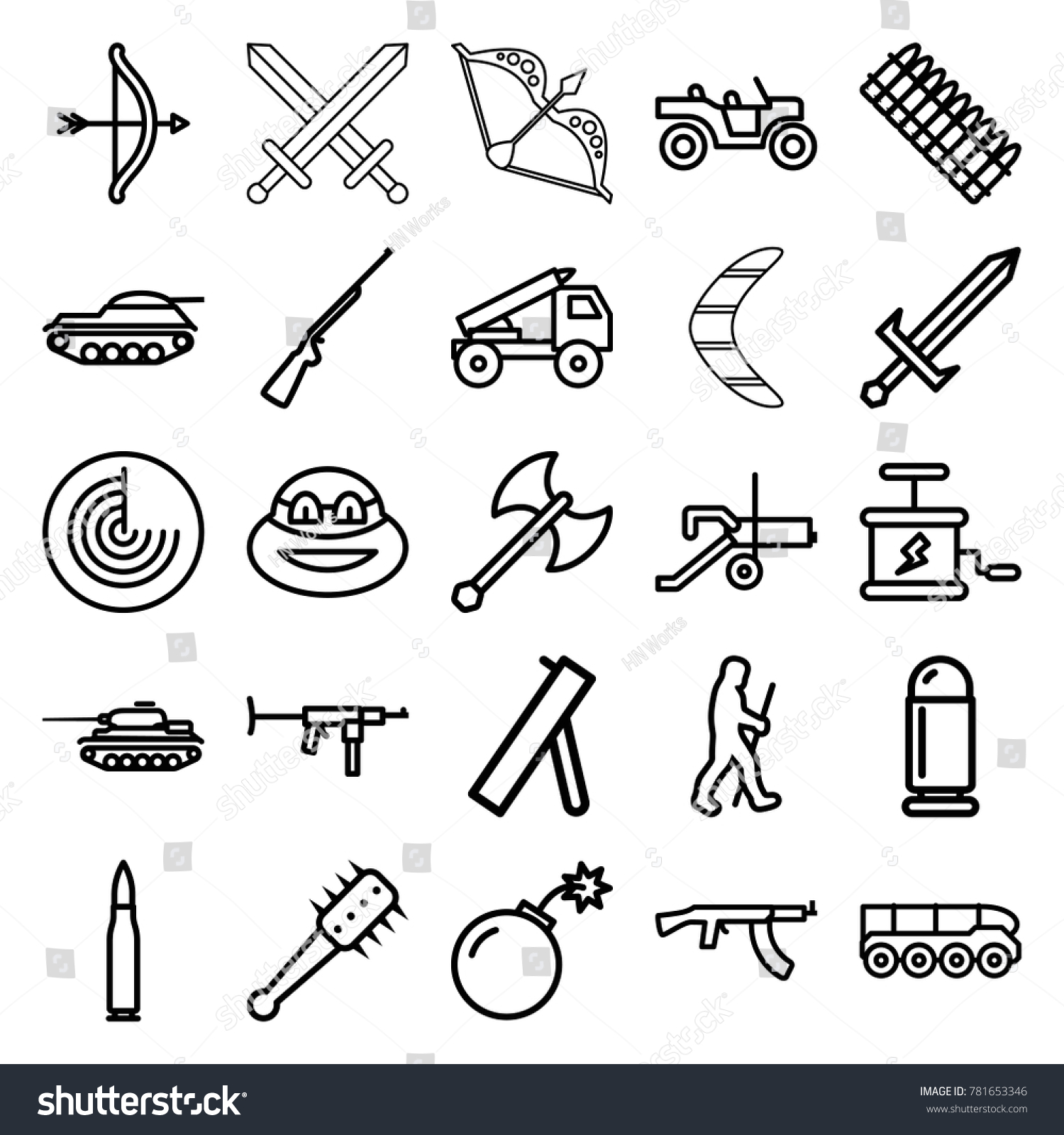 Weapon icons. set of 25 editable outline weapon icons such as radar, ninja,