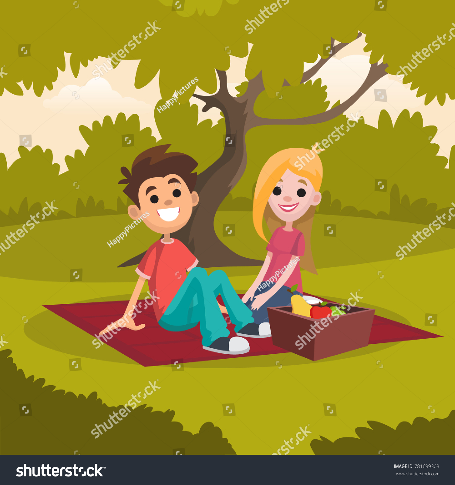Young Happy Couple Sitting Picnic Stock Vector