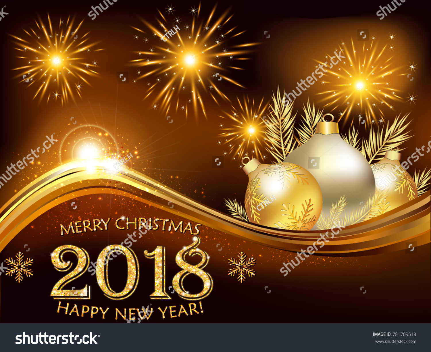 happy new year printable greeting card with fireworks and baubles on a brown background