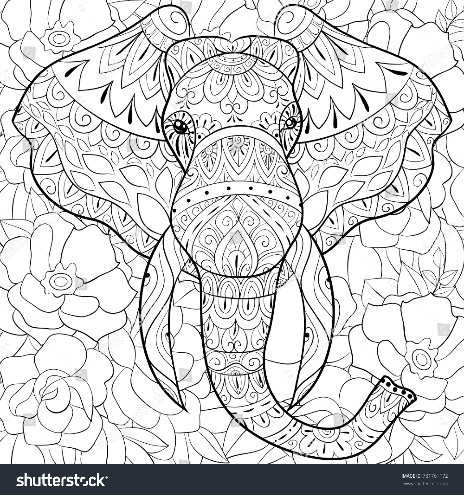 Adult Coloring Bookpage Head Elephant On Stock Vector (Royalty Free ...