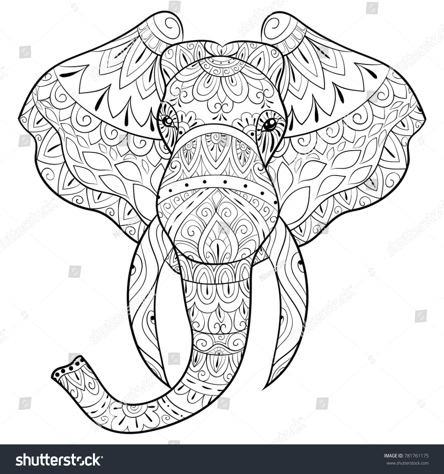 Adult Coloring Bookpage Head Elephant Relaxing Stock Vector ...