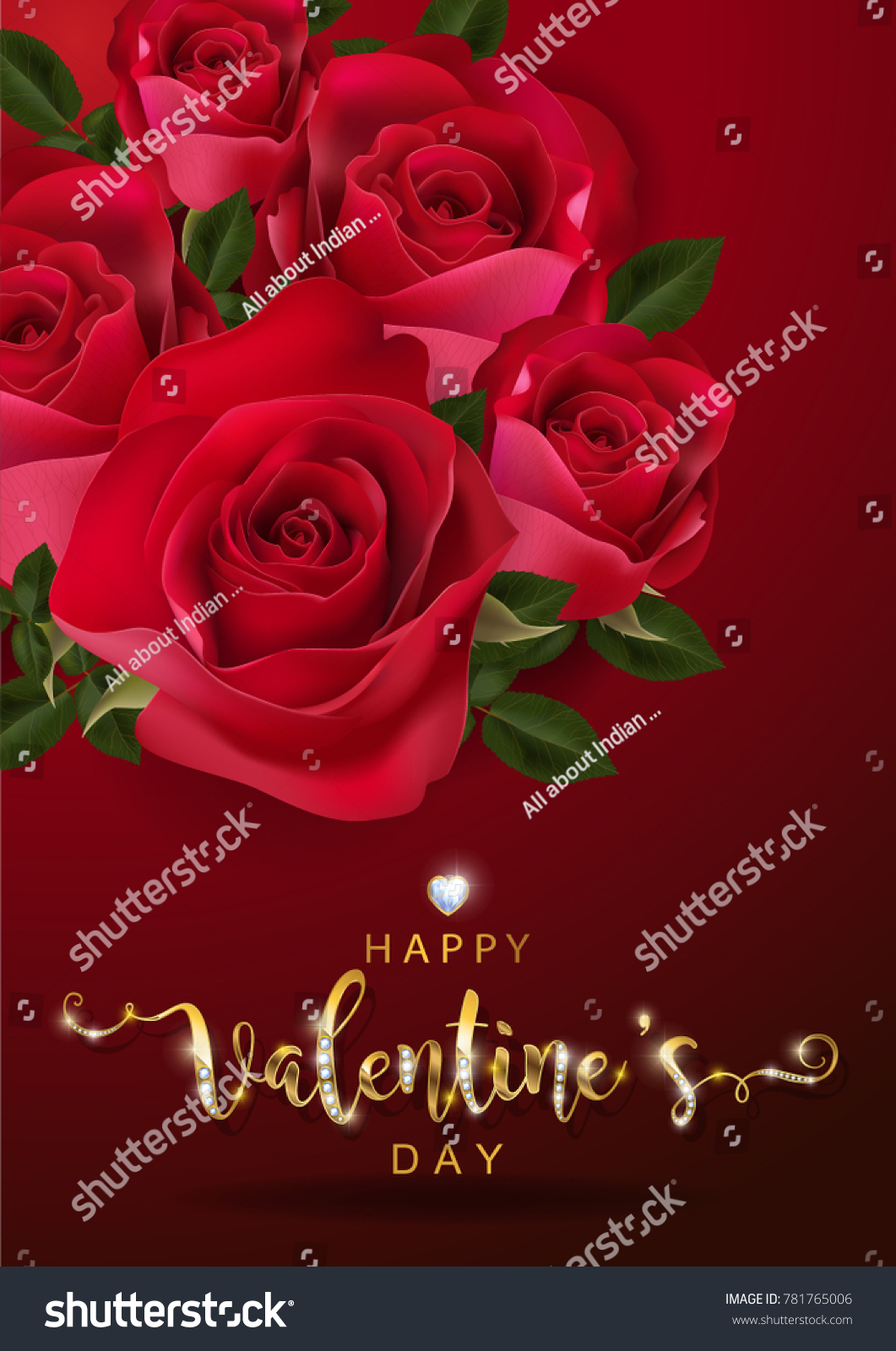 Valentines Day Greeting Cards Templates Realistic Stock Vector