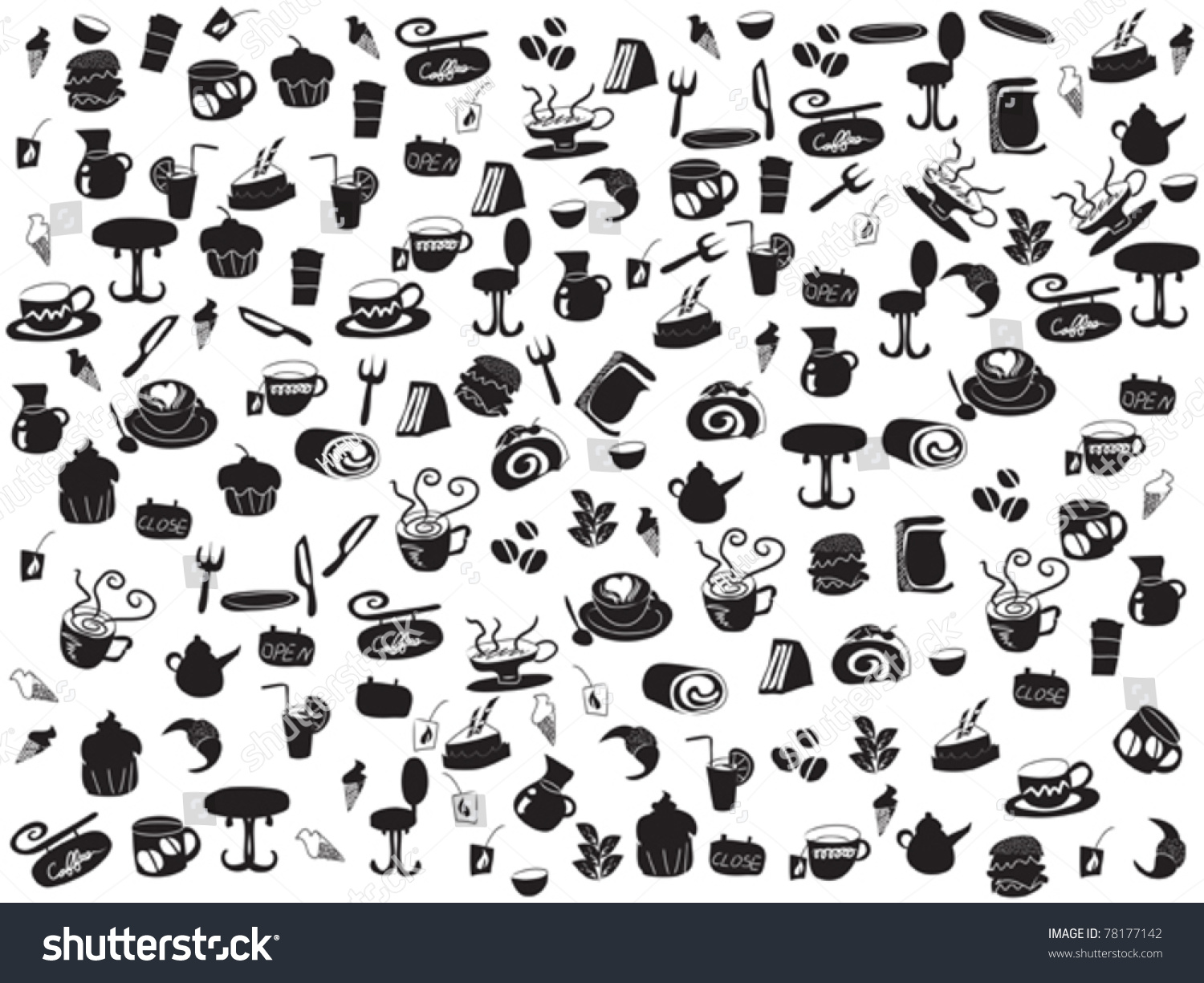 seamless doodle coffee pattern - photo #2