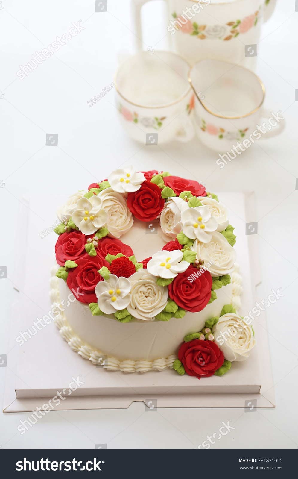 Birthday Cake Flowers Afternoon Tea Set Stock Photo Edit Now