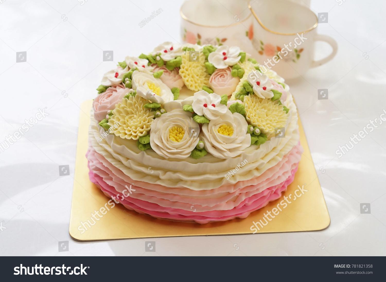 Birthday Cake Flowers Afternoon Tea Set Stock Photo 100 Legal