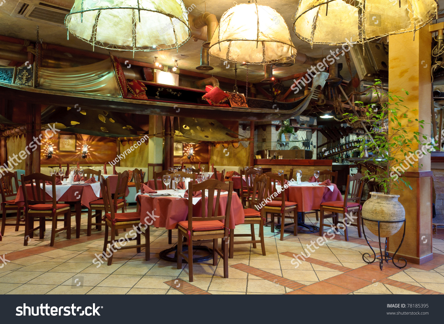 Italian restaurant with a traditional interior stock photo