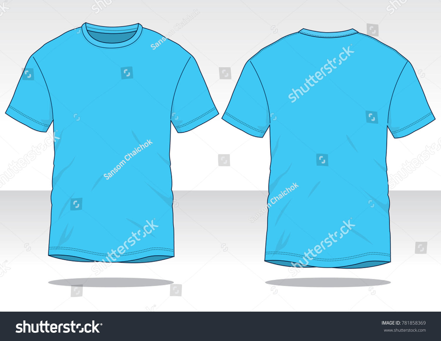 Sky Blue T Shirt Template Stock Vector Royalty Free 781858369