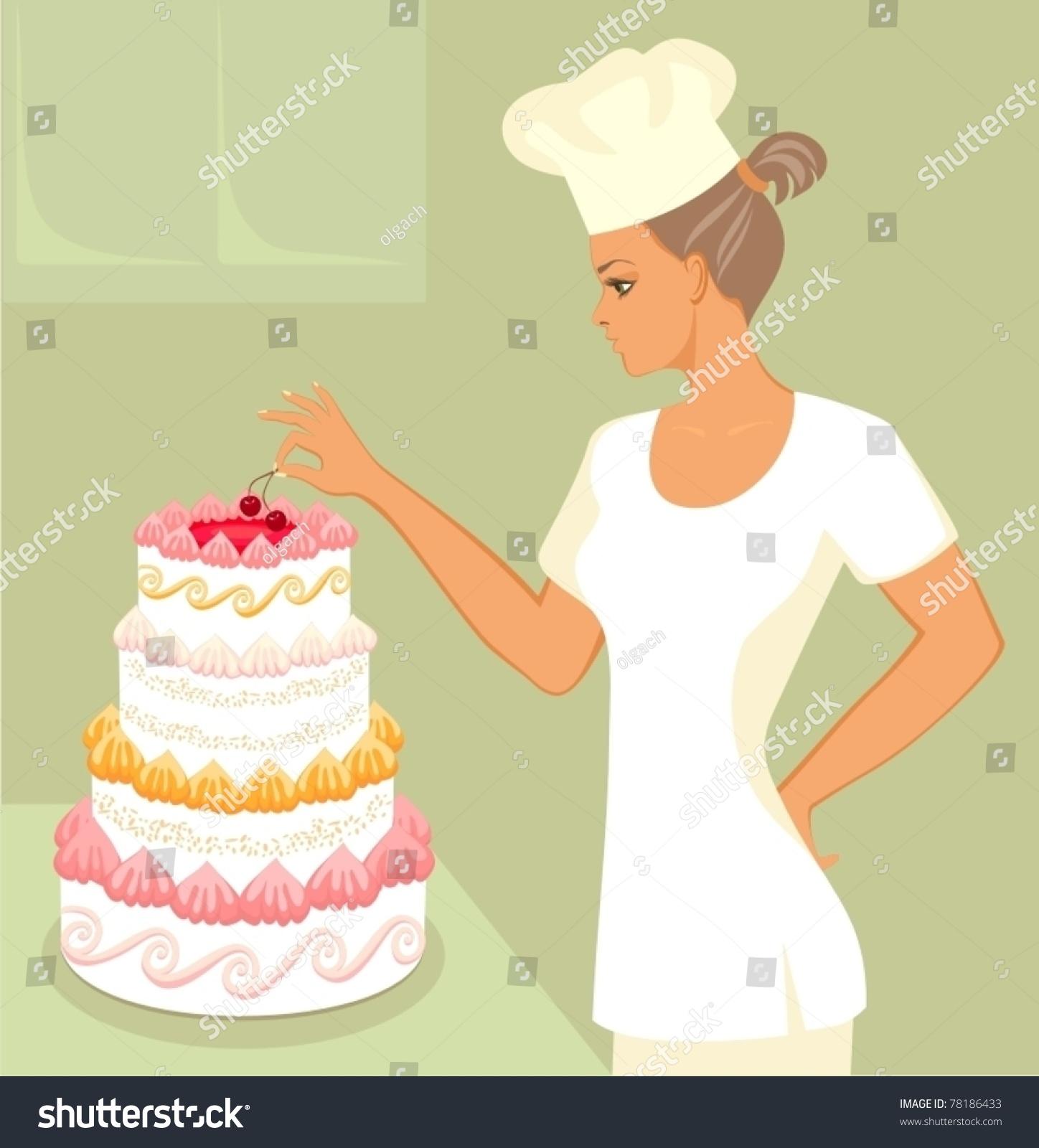 Baker Wedding Cake Stock Vector (Royalty Free) 78186433 - Shutterstock