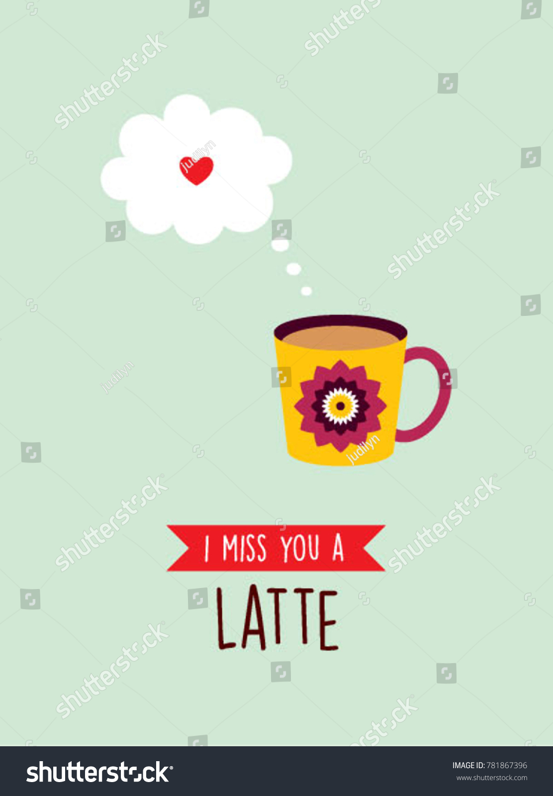 Miss you greeting card cup graphic stock vector 781867396 i miss you greeting card with cup graphic kristyandbryce Image collections