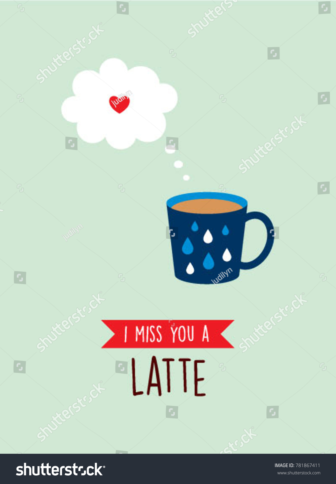 I miss you greeting card with cup graphic ez canvas m4hsunfo