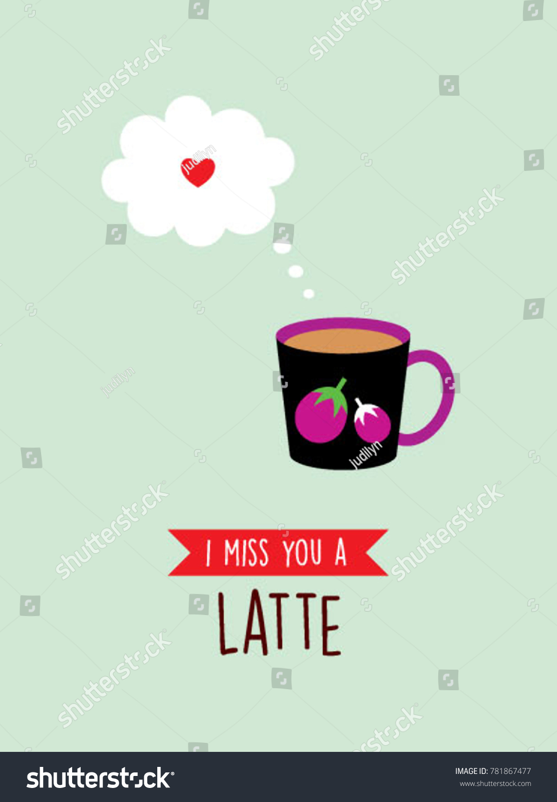 I Miss You Greeting Card With Cup Graphic Ez Canvas