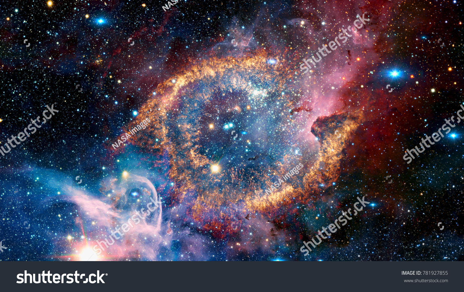 The Helix Nebula is a large planetary nebula located in the constellation Aquarius. Elements of this image furnished by NASA. #781927855