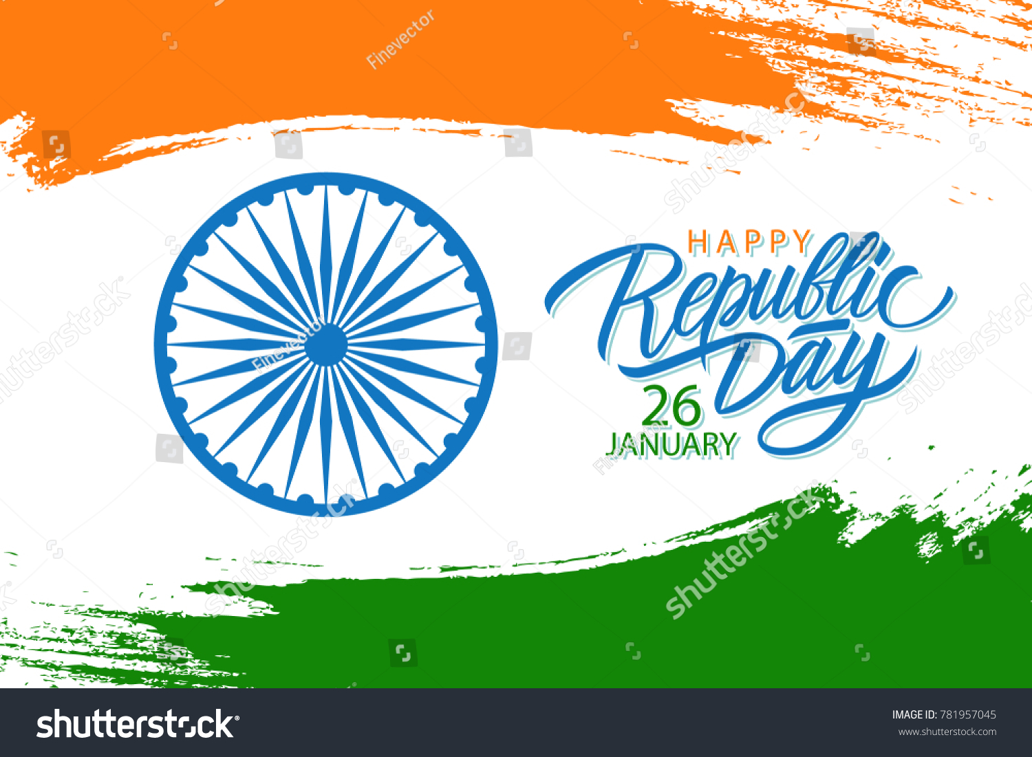 India Happy Republic Day Celebrate Banner Stock Vector Royalty Free