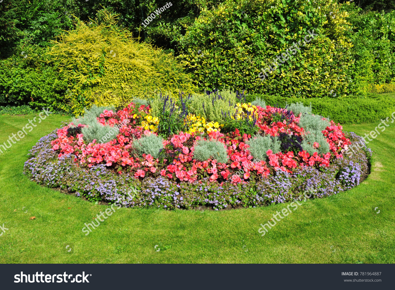 Scenic view circular flower bed bloom stock photo edit now scenic view of a circular flower bed in bloom in a beautiful english style garden izmirmasajfo