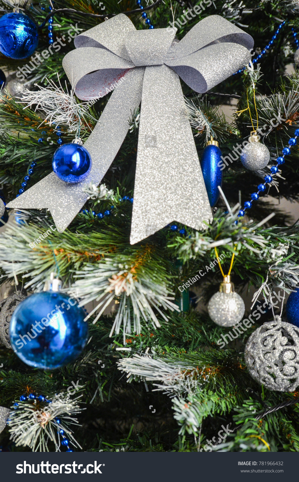 Christmas Tree Decorations Blue Grey Color Stock Photo Edit Now 781966432