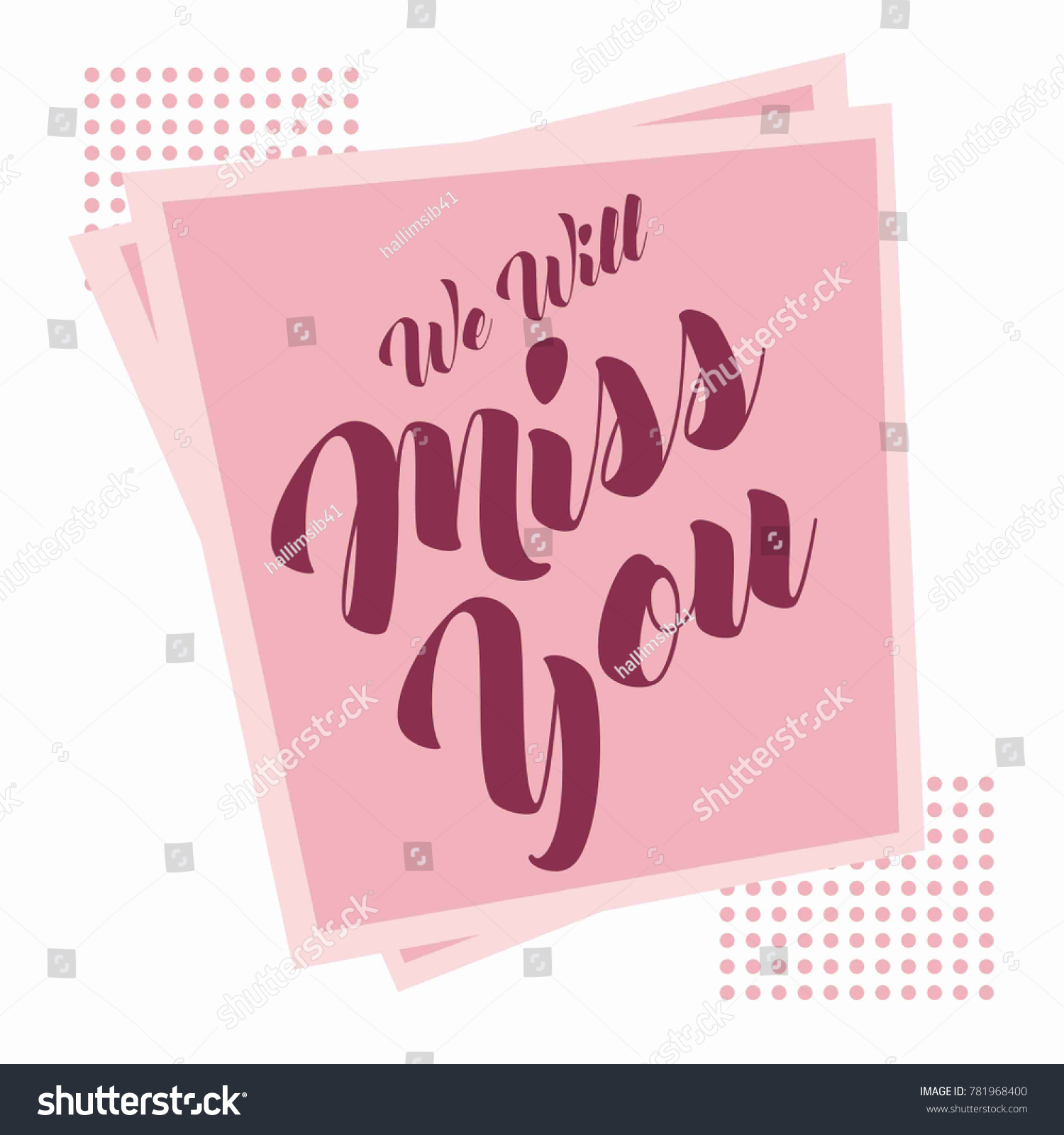 Farewell Party Card We Will Miss Stock Vector Royalty Free
