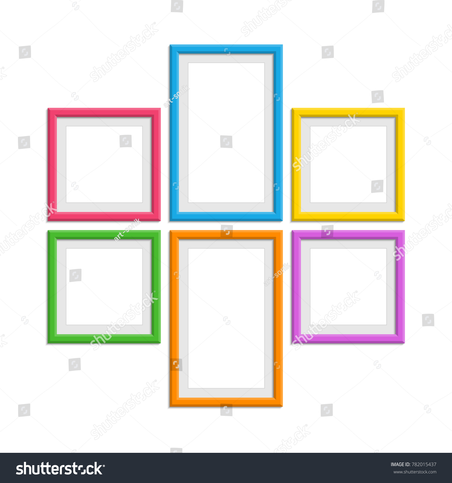 set colorful wooden frames wooden picture stock vector royalty free