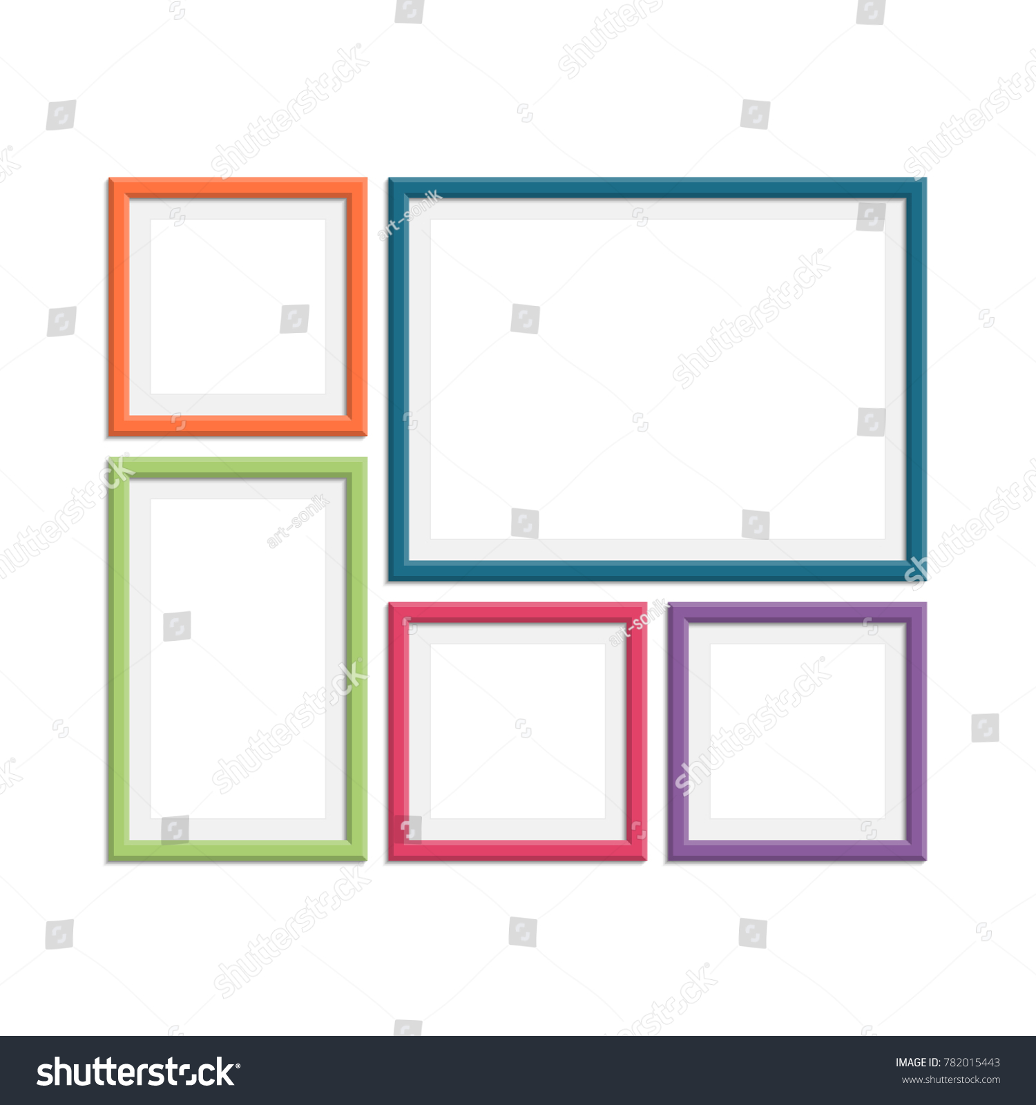 Set Colorful Wooden Frames Wooden Picture Stock Photo (Photo, Vector ...