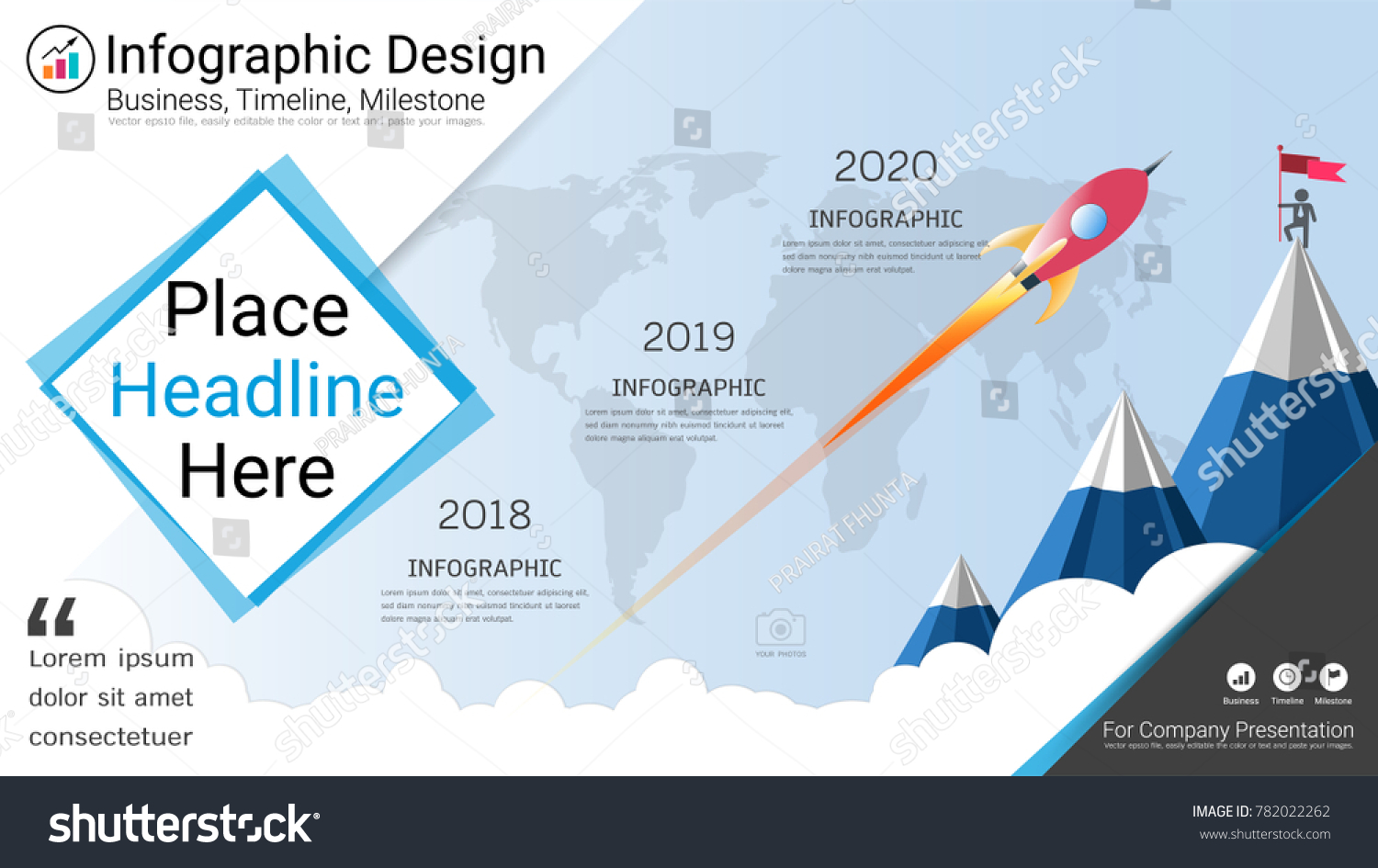 Business Infographics Template Milestone Timeline Road Stock Vector