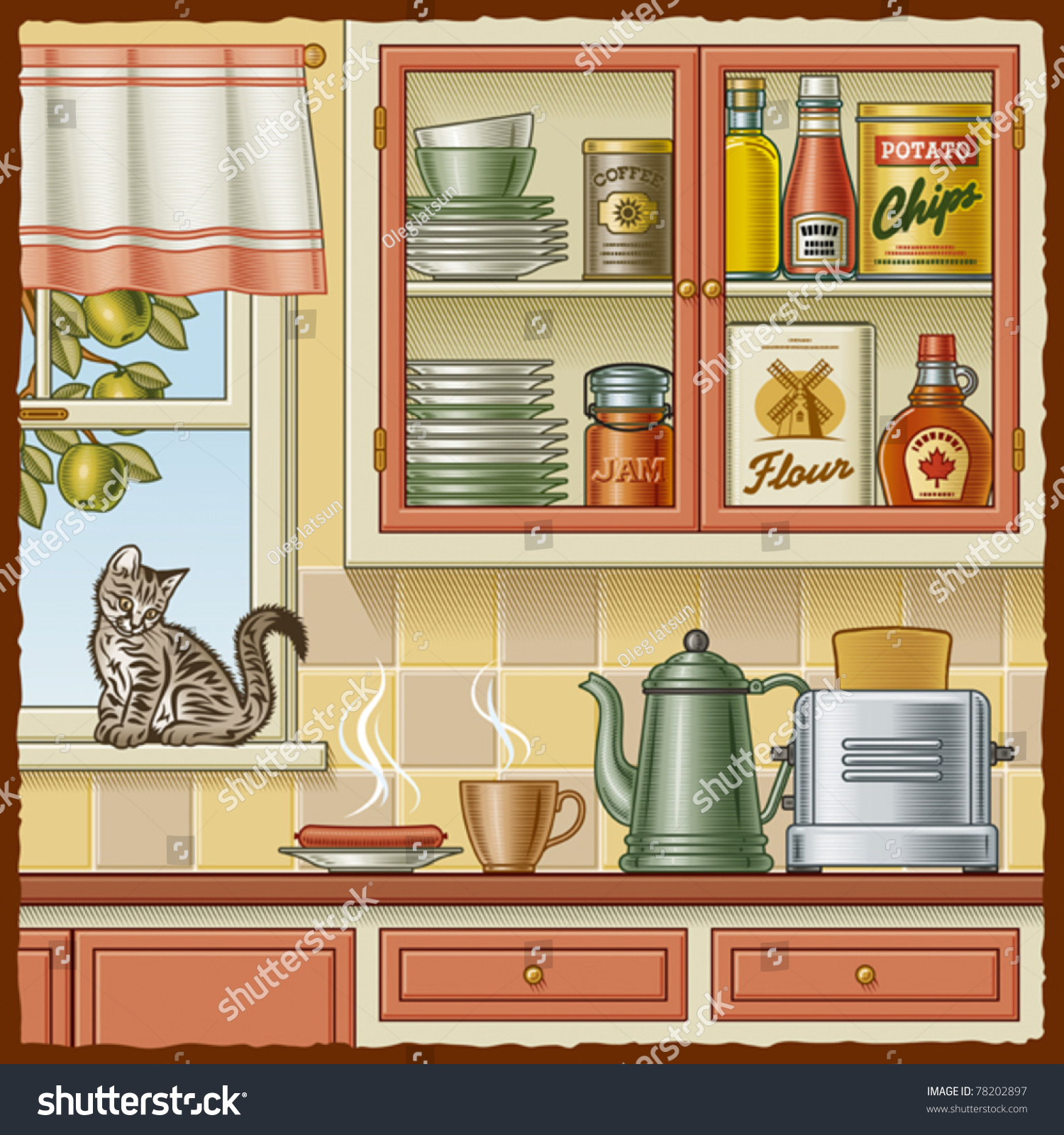 Retro Kitchen Retro Kitchen Vector Stock Vector 78202897 Shutterstock