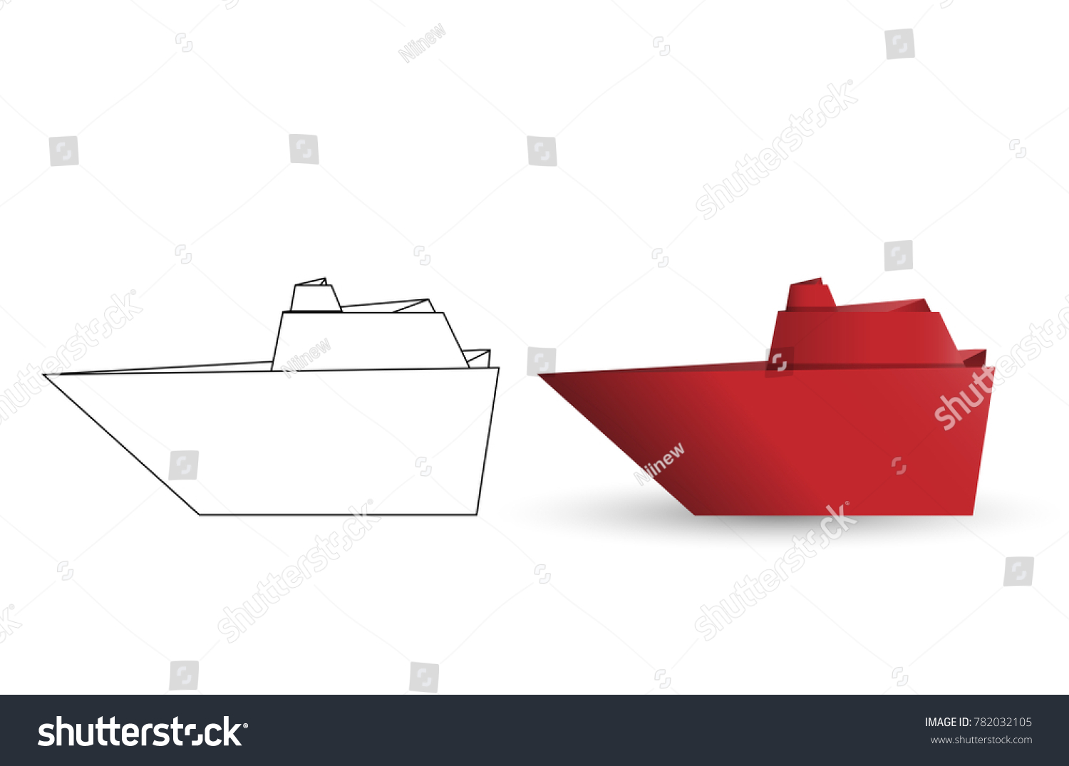 Vector Illustration Of Outline Paper Origami Battleship And Red