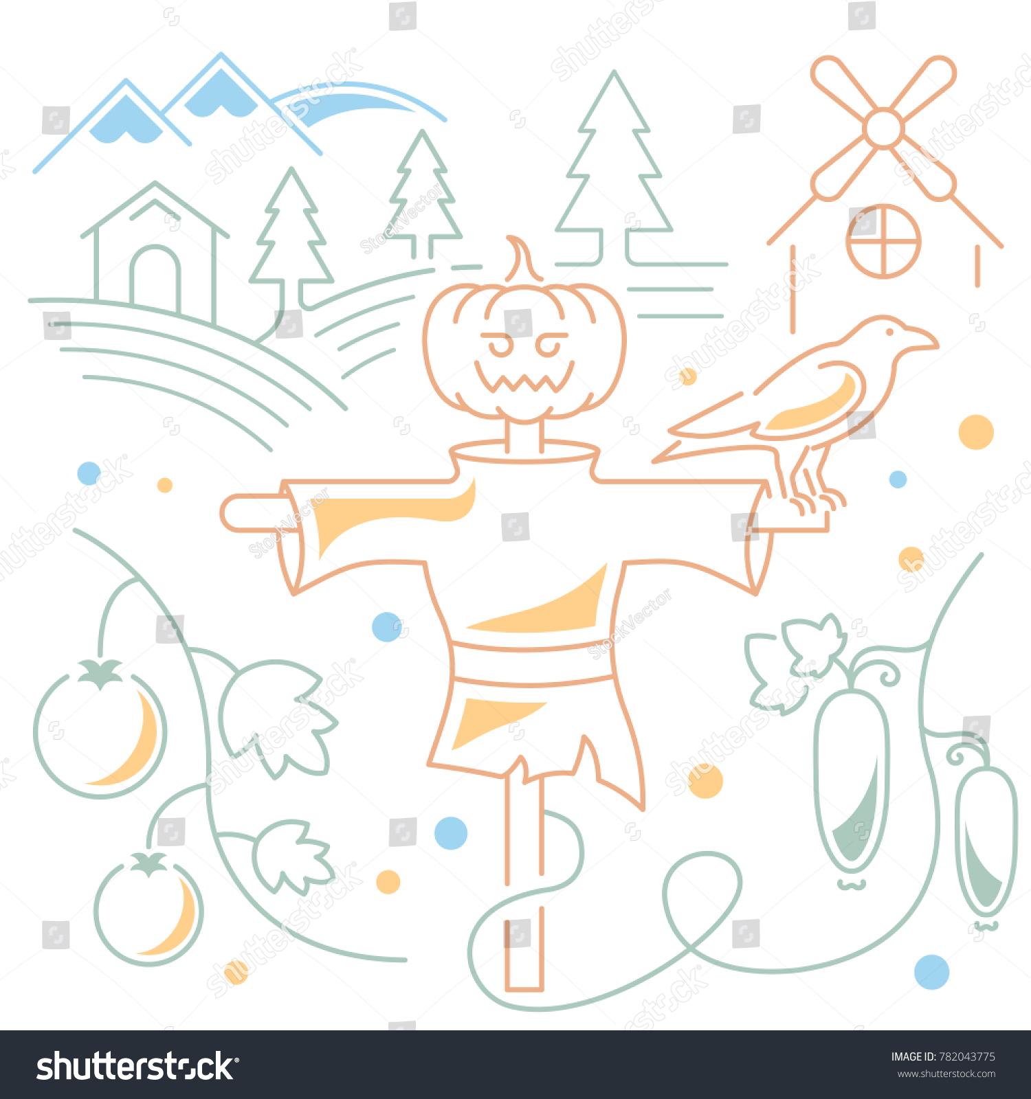 Line Illustration Scarecrow Garden Concept Web Stock Vector (Royalty ...