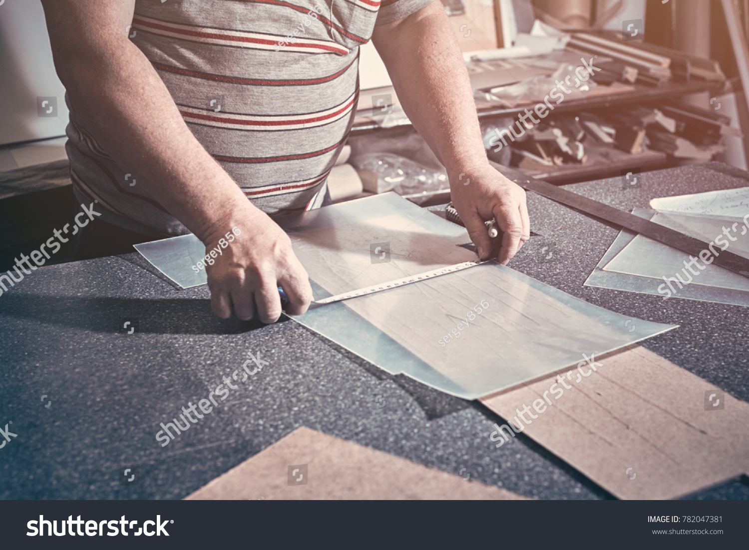 Joiner Makes Glass Product Picture Frame Stock Photo (100% Legal ...
