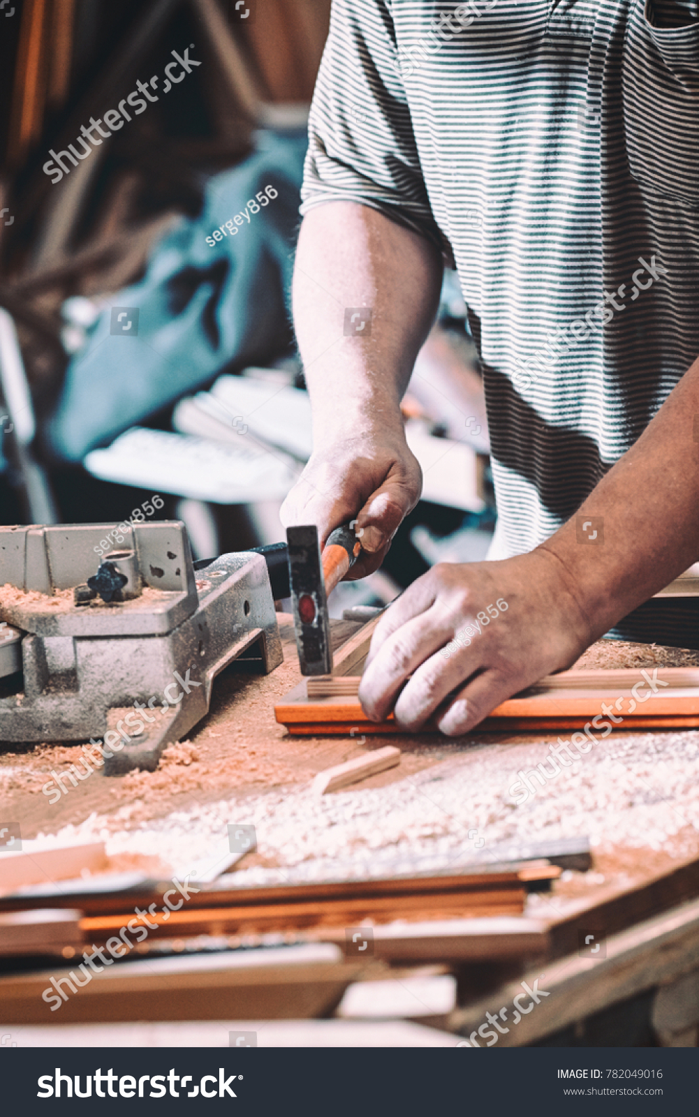 Joiner Makes Product Frame Painting Carpentry Stock Photo (Royalty ...