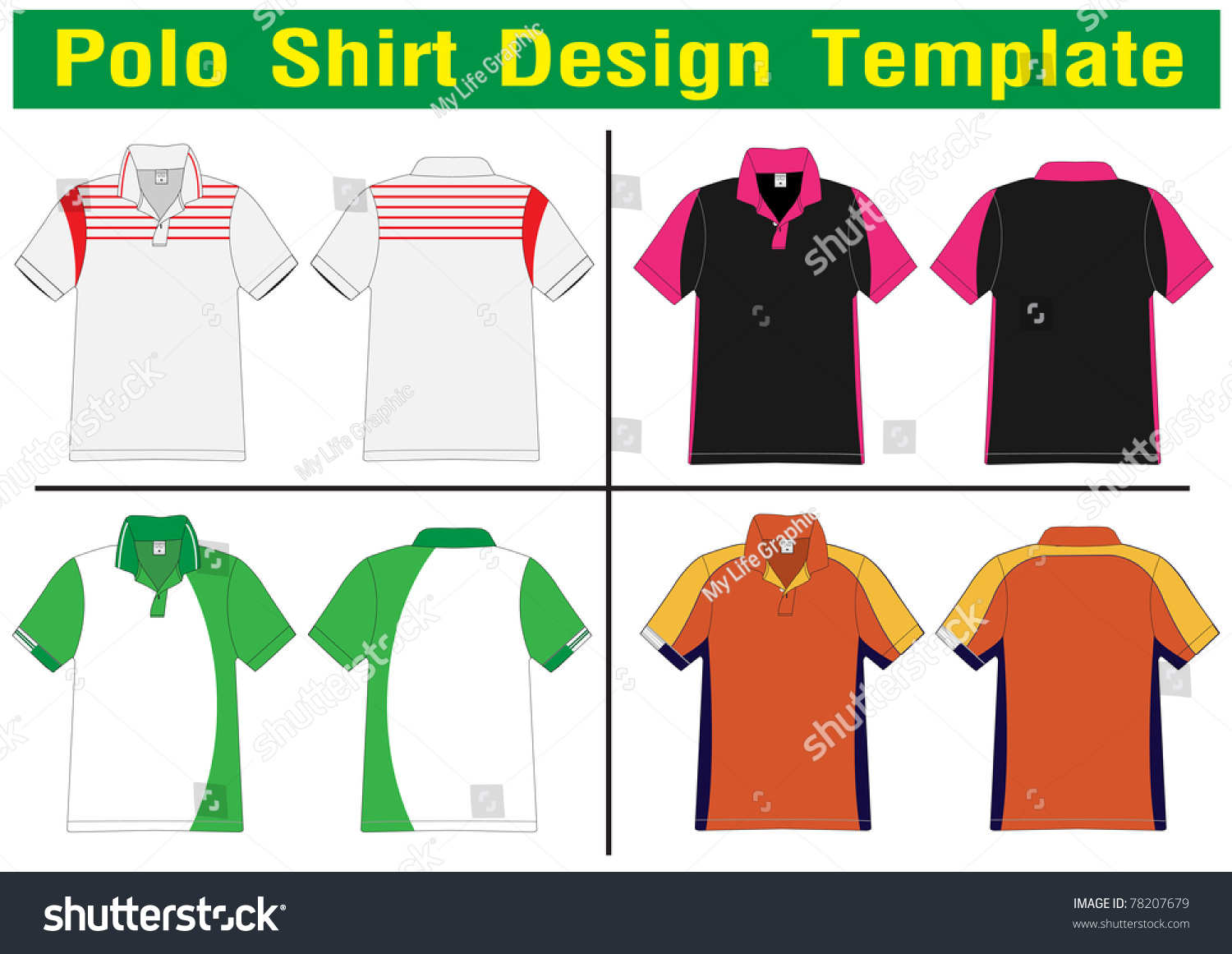 Polo shirt design lined vector template stock vector for Polo shirt design template