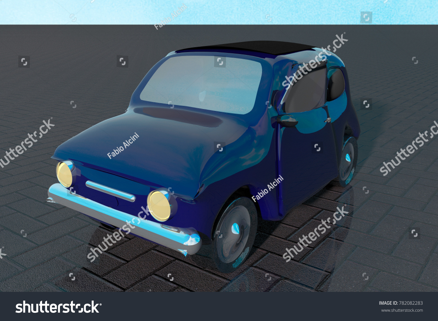 Small Old Round Car Outdoor 3d Stock Illustration 782082283 ...