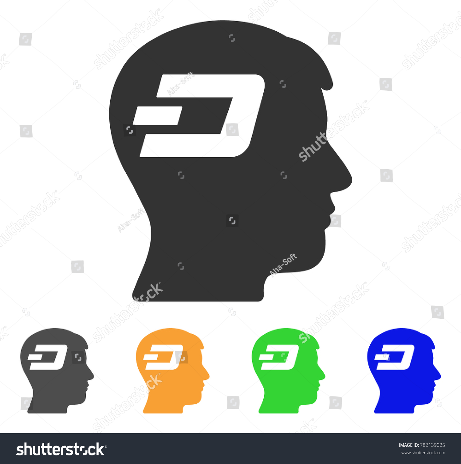 Dash brain icon vector illustration style stock vector 782139025 dash brain icon vector illustration style is a flat iconic dash brain symbol with grey biocorpaavc Images