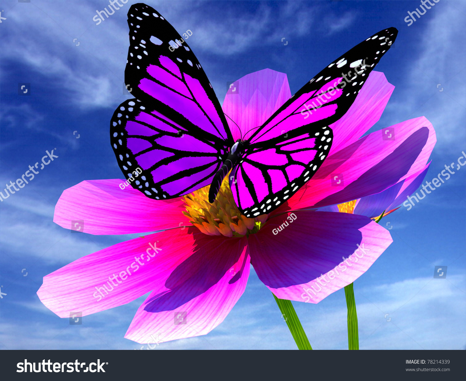 Beautiful Cosmos Flower Butterfly Stock Illustration 78214339