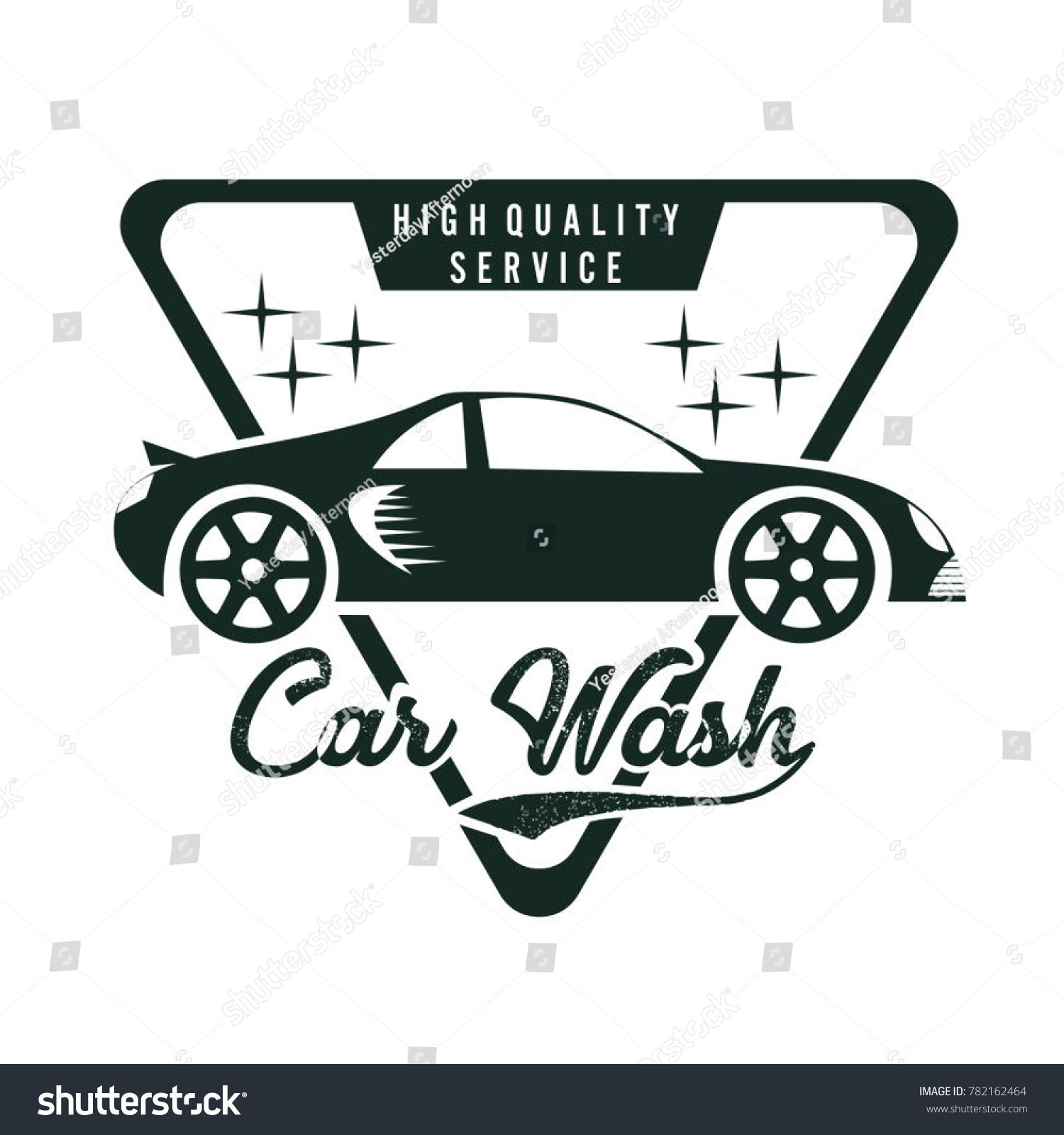 Car Wash Logo Vector With Car In Triangle Symbol Of Car Maintenance