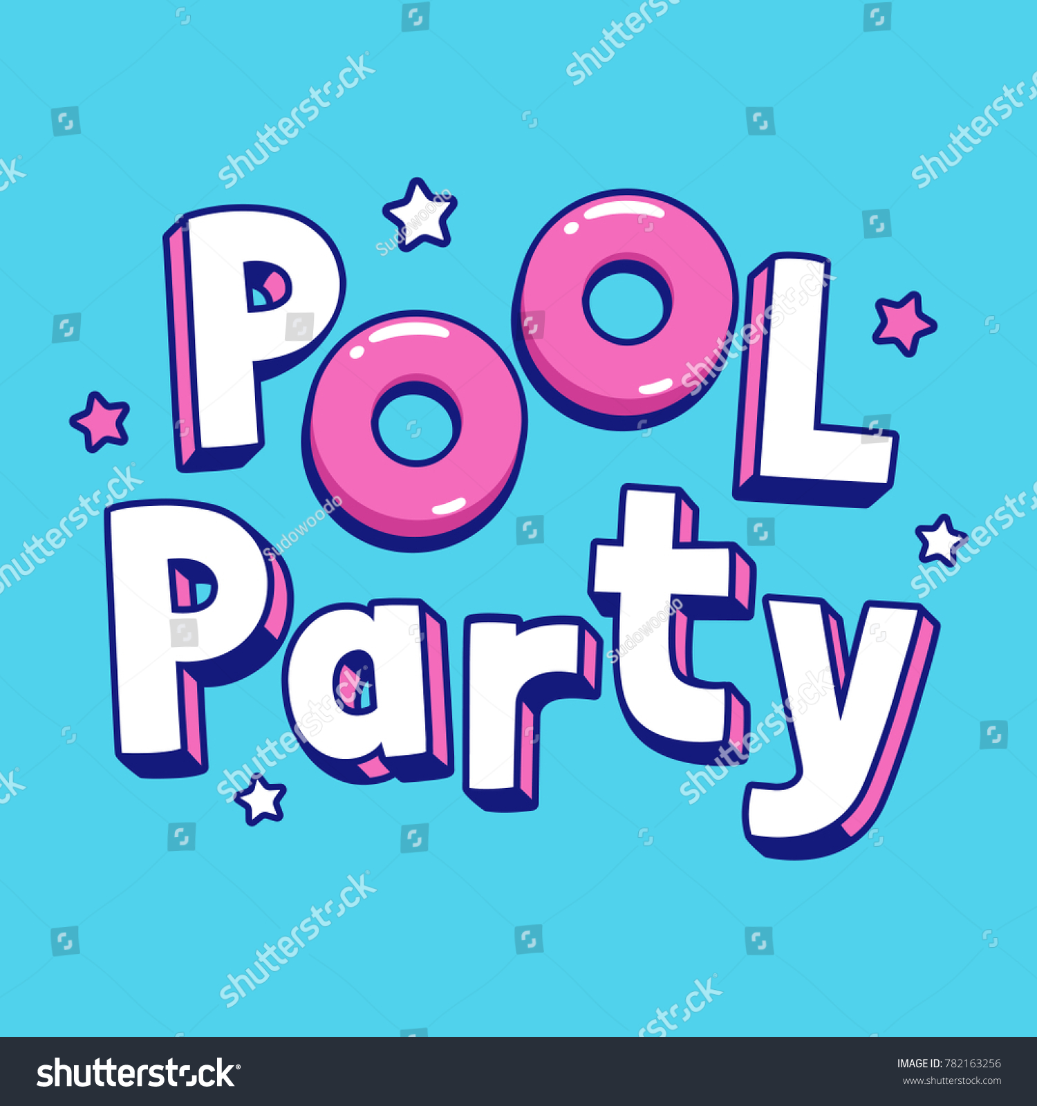 Cool cartoon pool party text lettering em vetor stock 782163256 cool cartoon pool party text lettering with pink pool floats summer party invitation or poster stopboris
