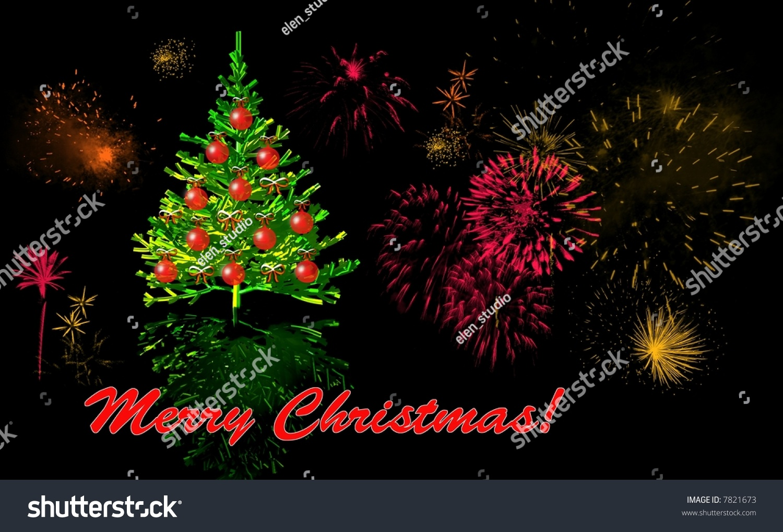 Christmas Card With Christmas Tree And Fireworks