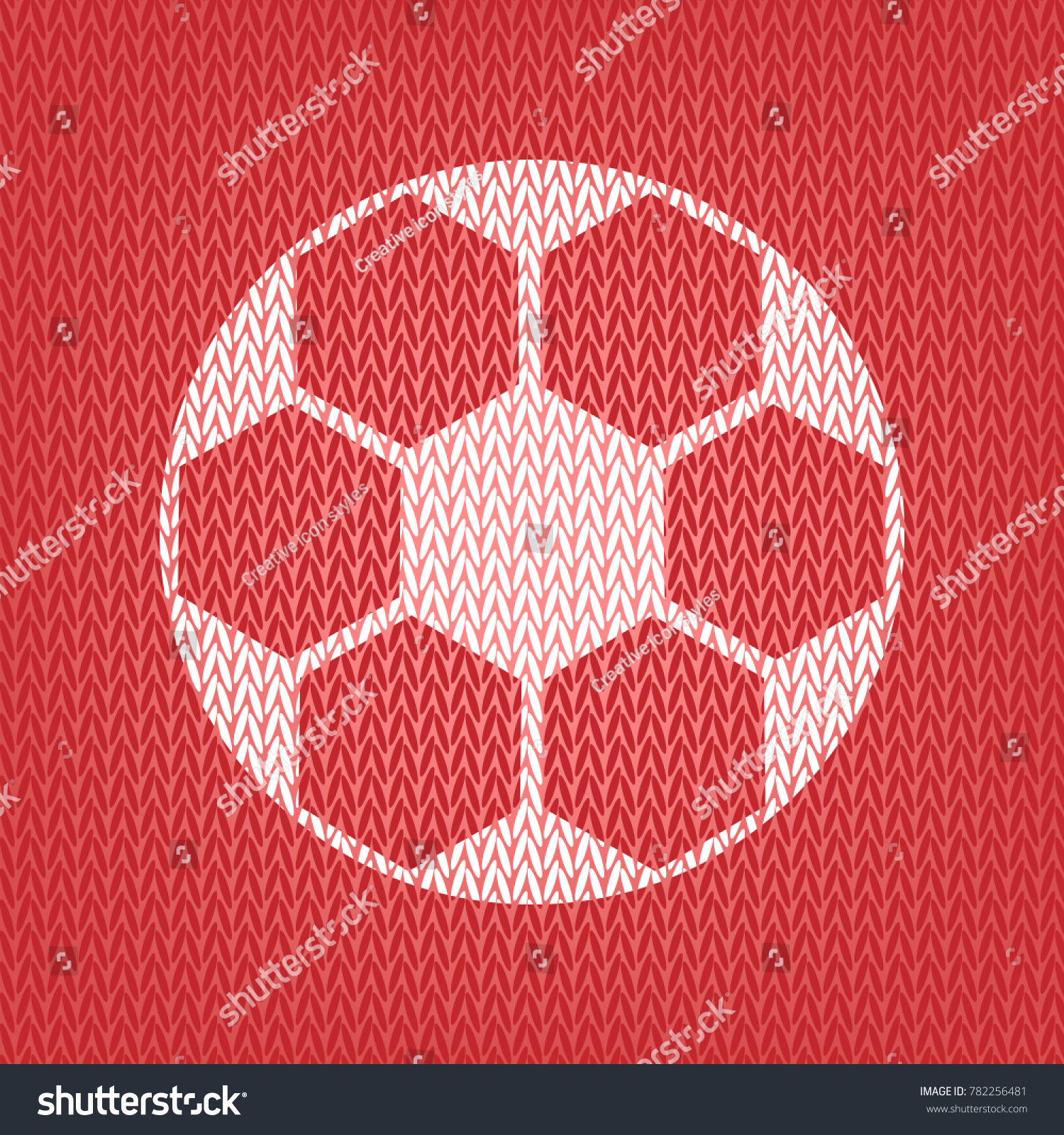 Soccer Ball Sign Vector Knitted White Stock Photo (Photo, Vector ...