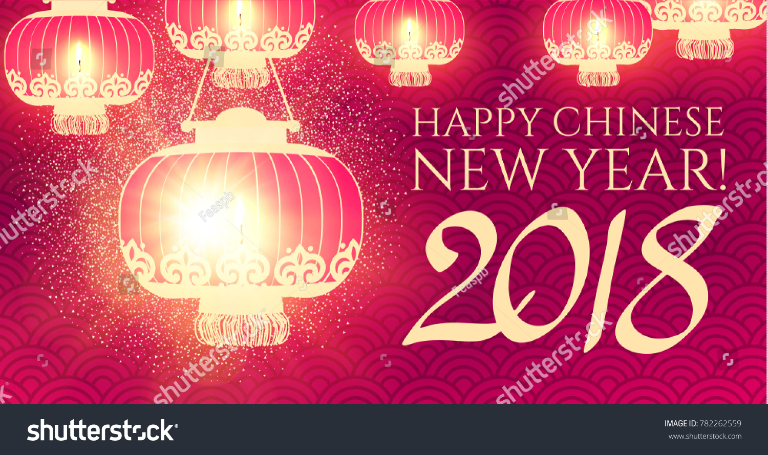 happy chinese 2018 new year background with lanterns and lights vector illustration