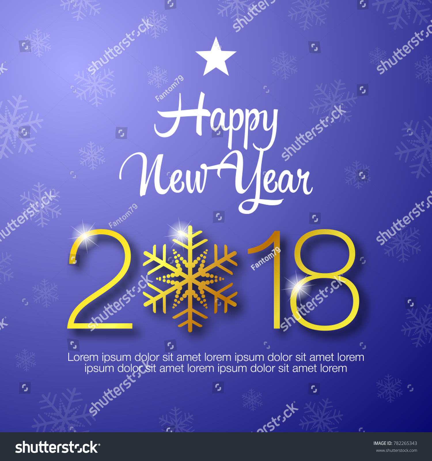 Happy New Year 2018 Typography Design Happy New Year Greeting Card