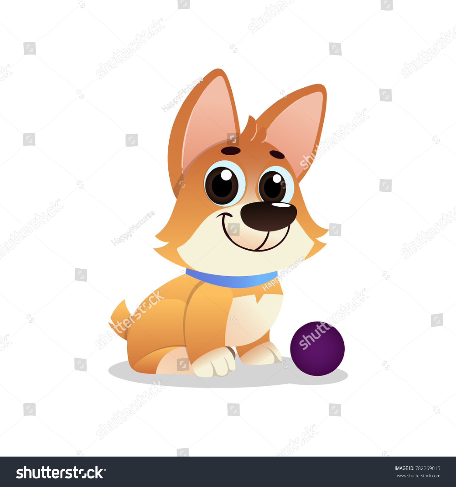 Cute cartoon dogs with big eyes to draw