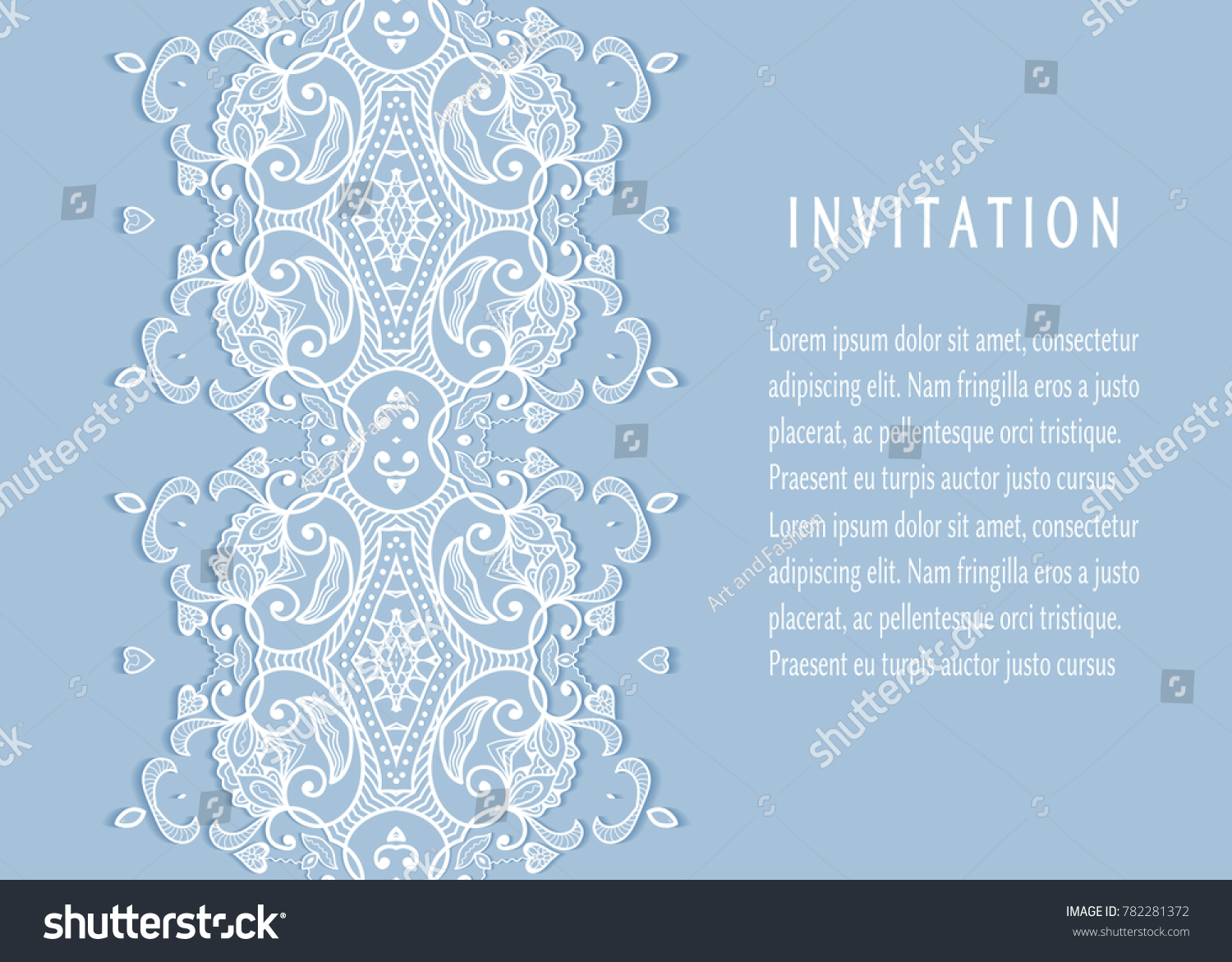 invitation or card template with lace mandala border cutout paper