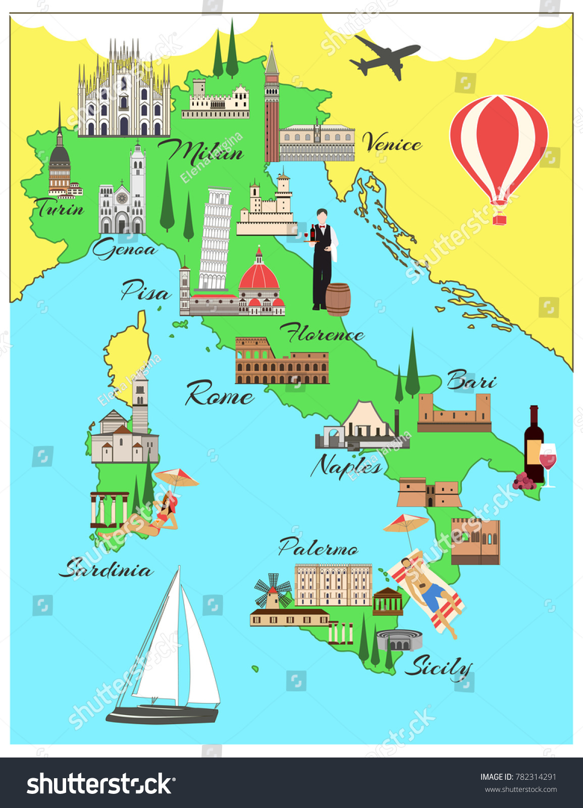 Map Of Italy For Tourists.Italy Travel Map Sights Flat Style Stock Vector Royalty Free