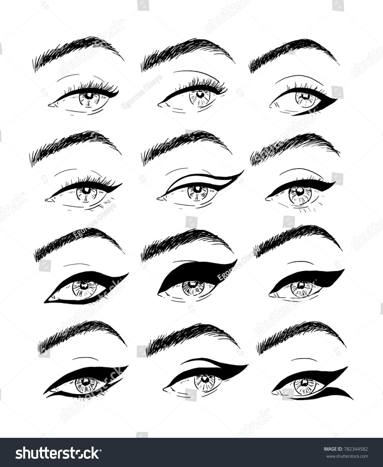 Illustrations Using Liner Makeup Eyes Stock Vector Royalty Free