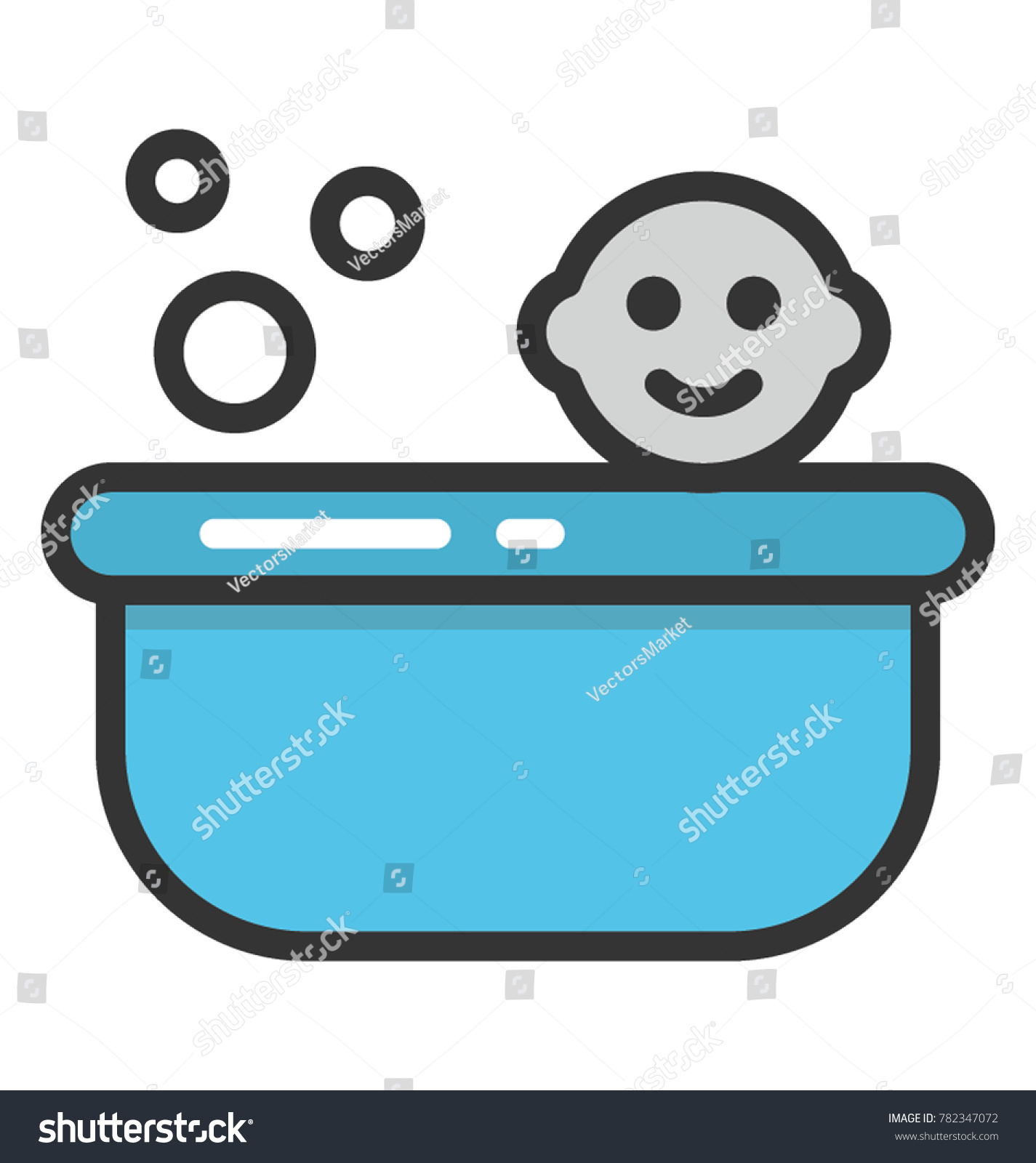 Blue Coloured Bath Tub Baby Depicting Stock Vector 782347072 ...